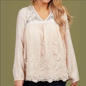 Altar'd State Embroidered Beaded Lace Tunic Top